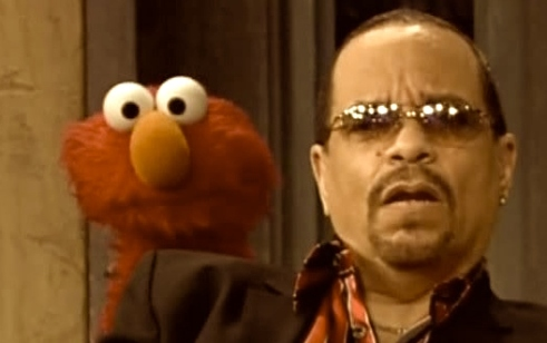 Ice-T, right, with Elmo, left.